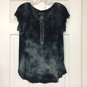 AEO Soft & Sexy T shirt black tie dye lace up